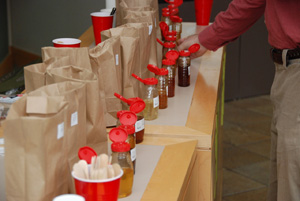 A blind taste test of Maine honey was a popular feature of this fall's meeting, highlighting the incredible variety of flavors found across the state's apiaries. Top honors from the contest went to Andrew Dewey's bees in Southwest H arbor.